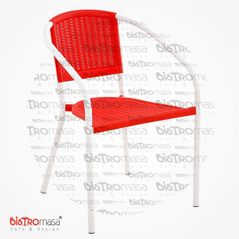 Narin Dış Mekan Cafe Sandalyesi Kırmızı Renk