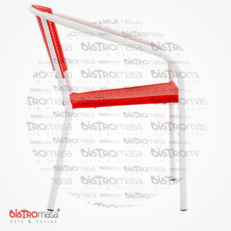 Narin Dış Mekan Cafe Sandalyesi Kırmızı Renk Modeli
