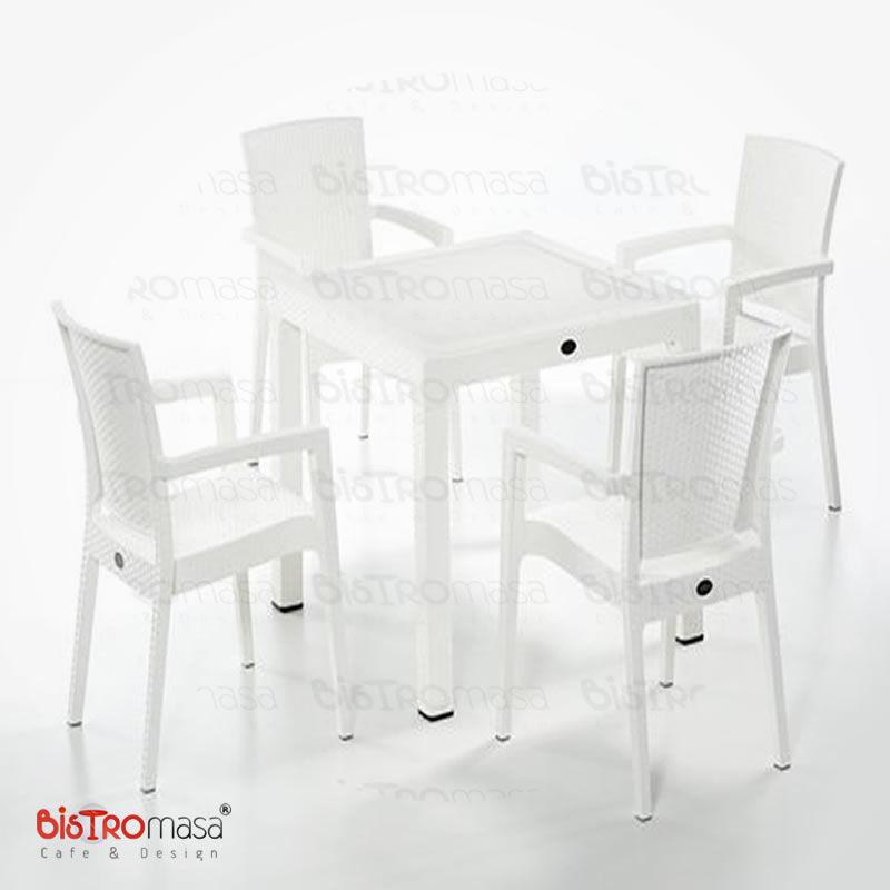 Roma Dış Mekan Cafe Masa Sandalye Takımı Beyaz Renk