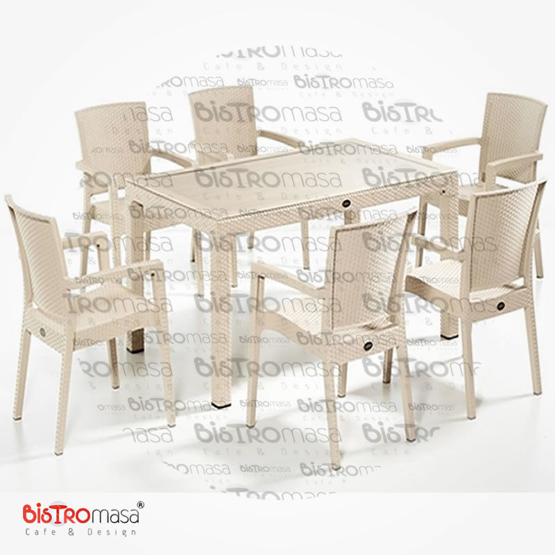 Roma Dis Mekan Cafe Masa Sandalye Takimi 6 Kisilik Krem Renk