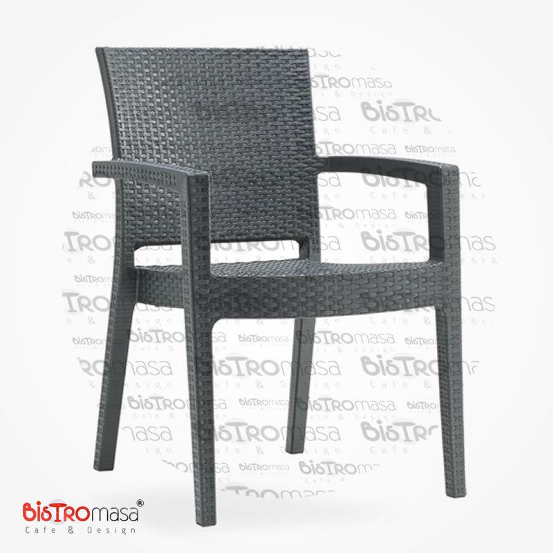 Roma Rattan Dış Mekan Cafe Sandalye Antrasit Renk