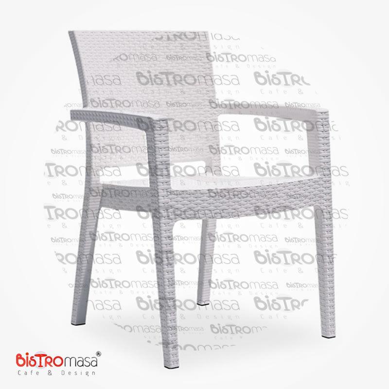Roma Rattan Dış Mekan Cafe Sandalye Beyaz Renk
