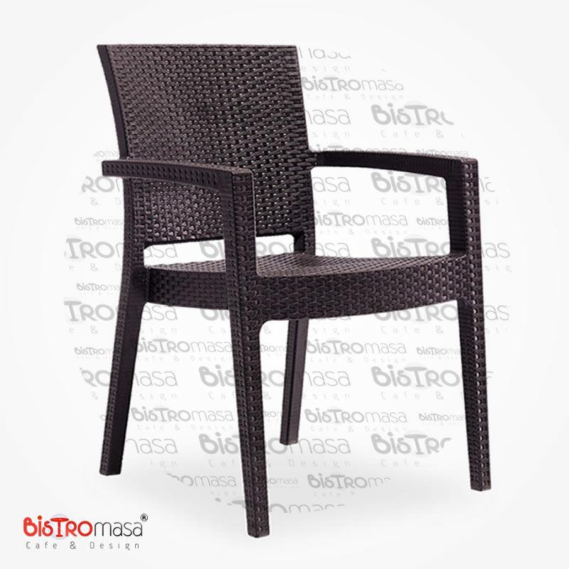 Roma Rattan Dış Mekan Cafe Sandalye Kahverengi Renk