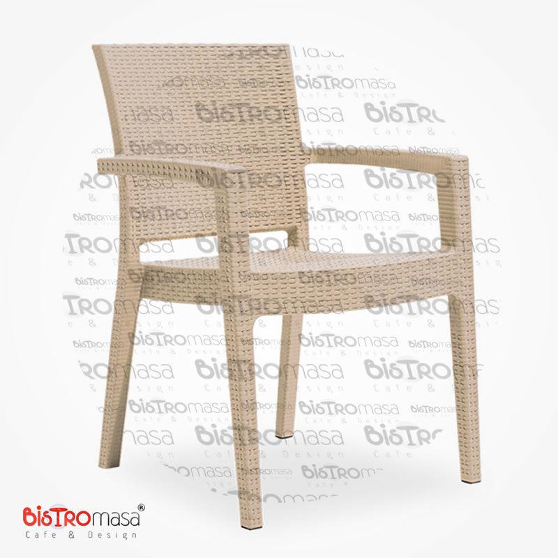 Roma Rattan Dış Mekan Cafe Sandalye Krem Renk
