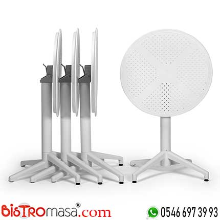 Ay Katlanır Beyaz Cafe Masası DISCM003