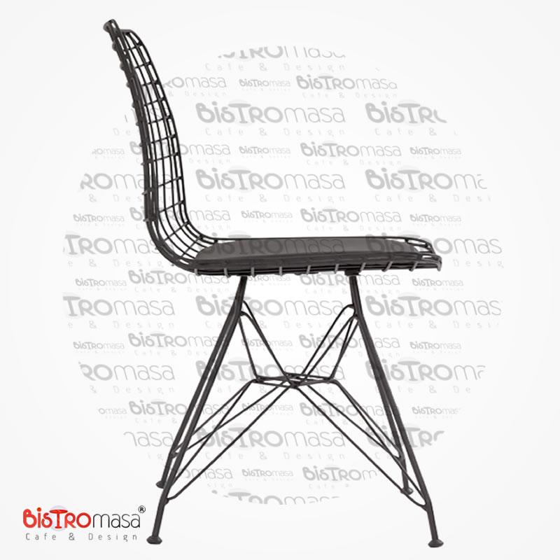 Bade Siyah Renk Tel Cafe Sandalyesi
